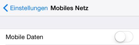 Mobile Daten ausgeschaltet